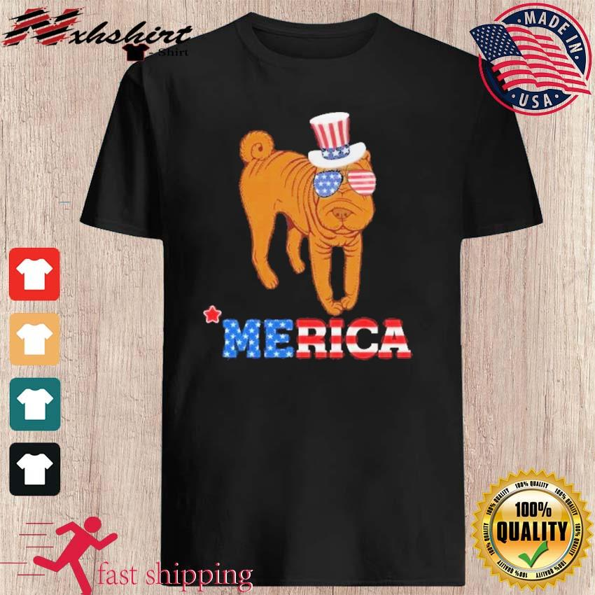 Chinese Shar - Pei Dog Merica With American Flag Shirt