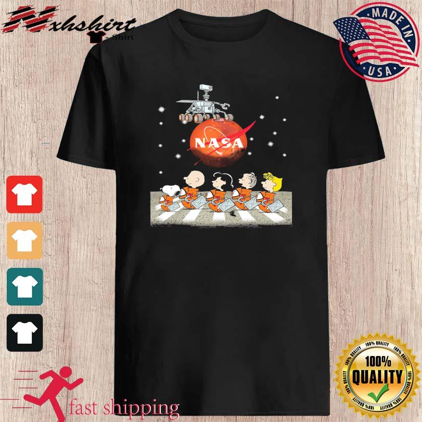 NASA Snoopy Charlie Brown And Friends Abbey Road Mars Perseverance Rover Mission 2020 Shirt