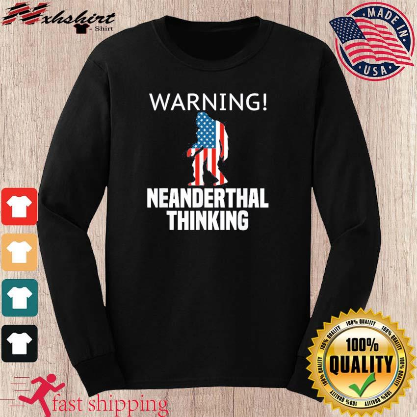 Neanderthal Thinking for Proud Neanderthals American Flag Shirt long sleeve