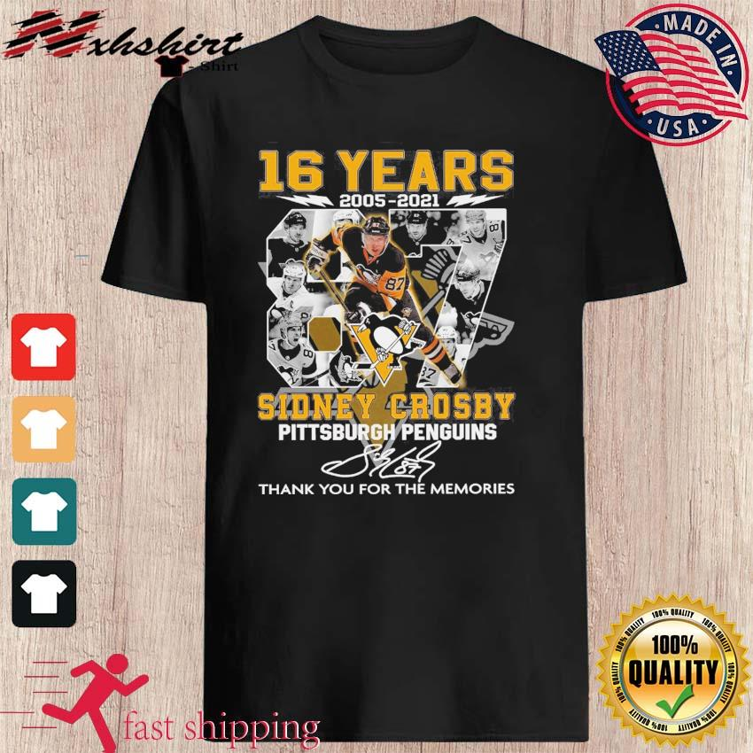 16 Years 2005 2021 The Sidney Crosby Pittsburgh Penguin Signature Thank You For The Memories Shirt