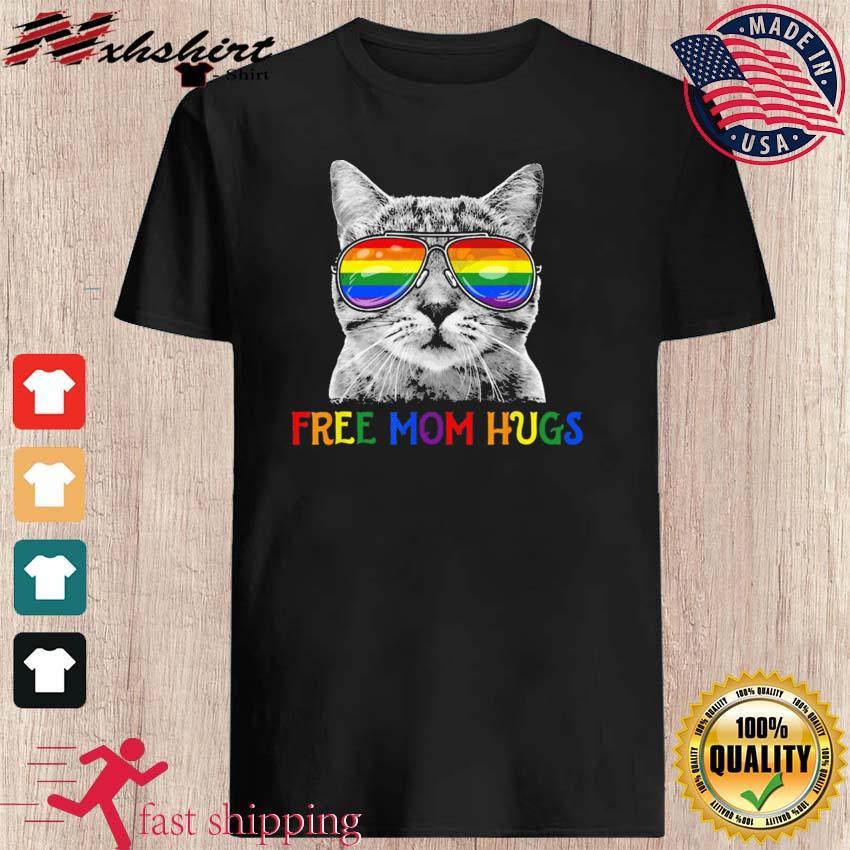 Free Mom Hugs Purride Proud Ally Cat Rainbow Flag LGBT Pride 2021 Shirts