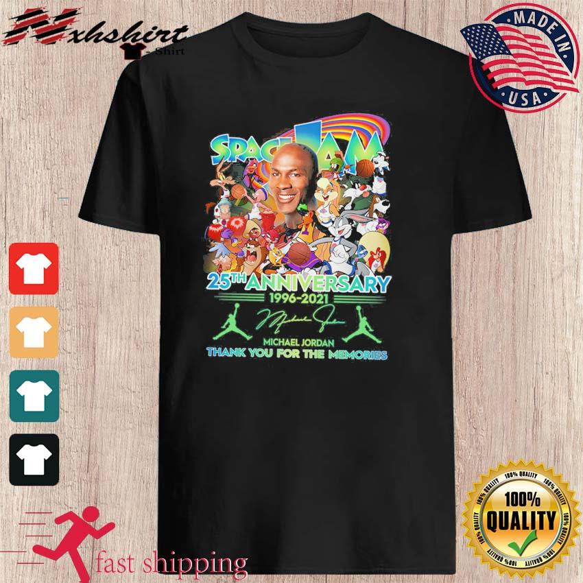 25th Anniversary 1996 2021 Of The Space Jam 2 Signatures Thank You For The Memories Shirt