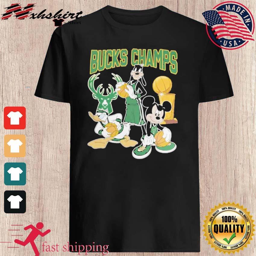 Bucks Championship Tshirt Funny Mickey Donald Goofy Milwaukee Bucks Champions