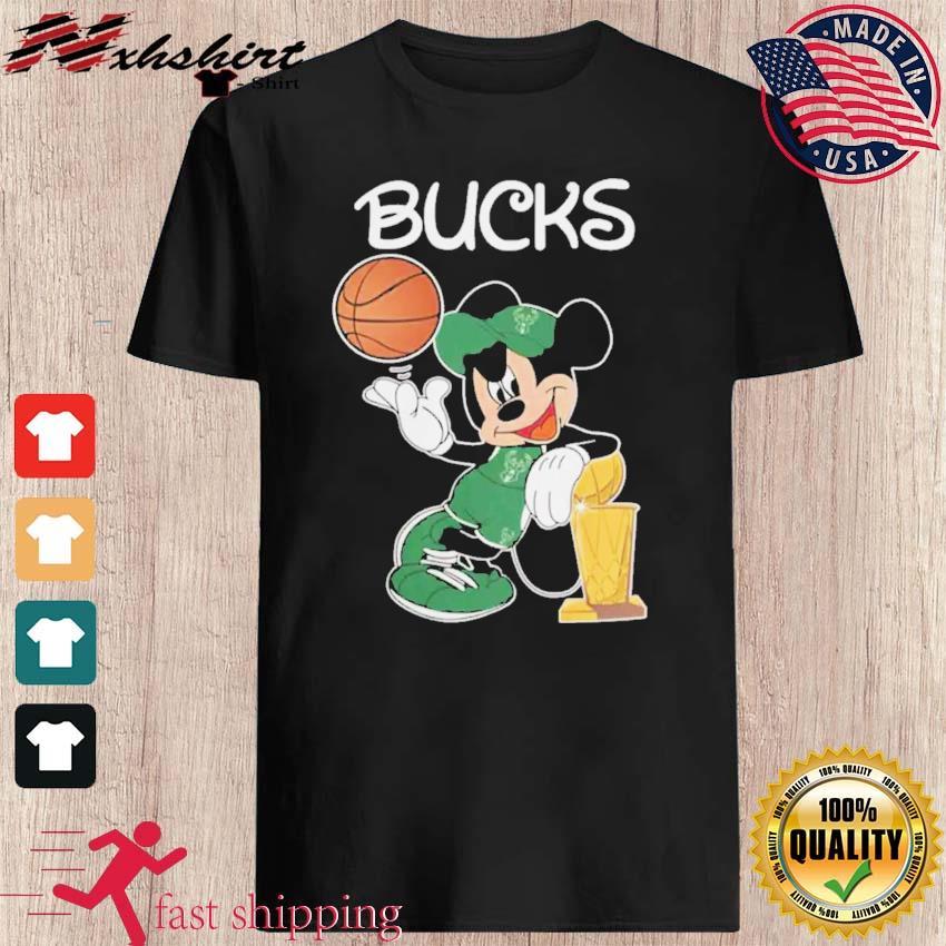 Bucks Championship TShirt Funny Mickey Mouse Taking Larry O'Brien Championship Trophy
