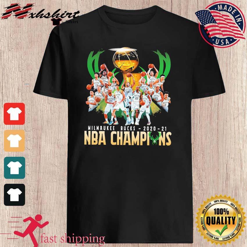 Milwaukee Bucks Team Basketball 2020 2021 NBA Champions Funny t-shirt