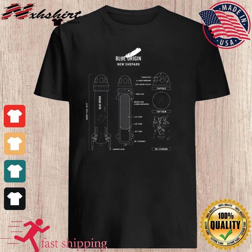 Official New Shepard Rocket Blueprint Shirt