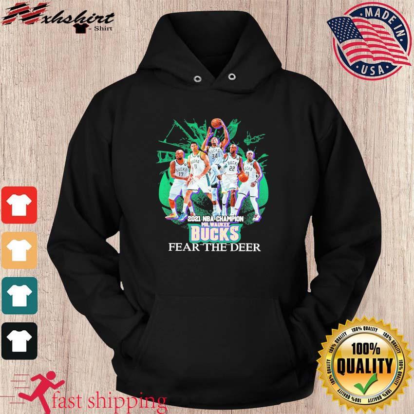 Vintage Milwaukee Bucks Team Basketball 2021 NBA Champions Fear The Deer s hoodie