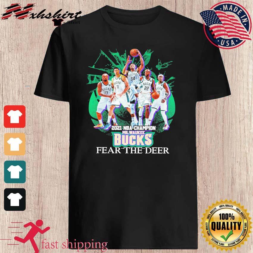 Vintage Milwaukee Bucks Team Basketball 2021 NBA Champions Fear The Deer shirt
