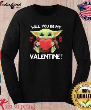 Baby Yoda Hug Heart Will You Be My Valentine Shirt long sleeve